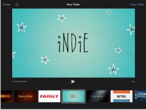 iMovie screen example